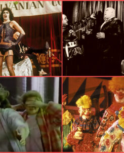 Top Right: Rocky Horror Picture Show, Top Left: Plan 9 From Outer Space, Bottom Right:, Bottom Right: Killer Klowns From Outer Space