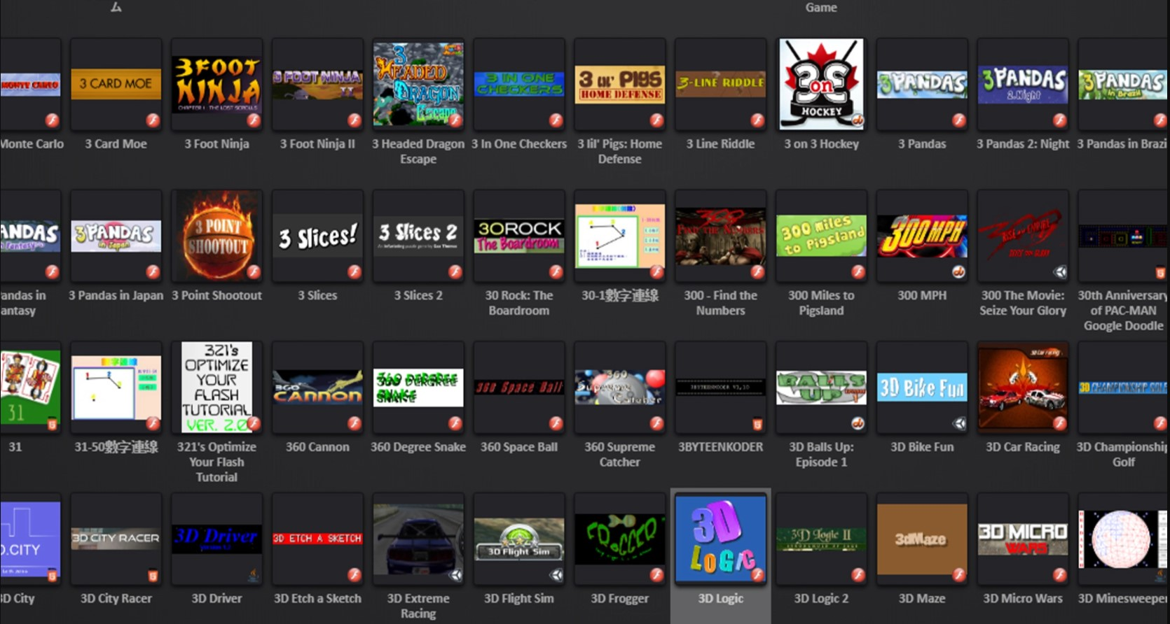 Thumbnails of PC games