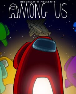 "Among us characters (ovals with legs) in various colors under the words ""Among Us"""