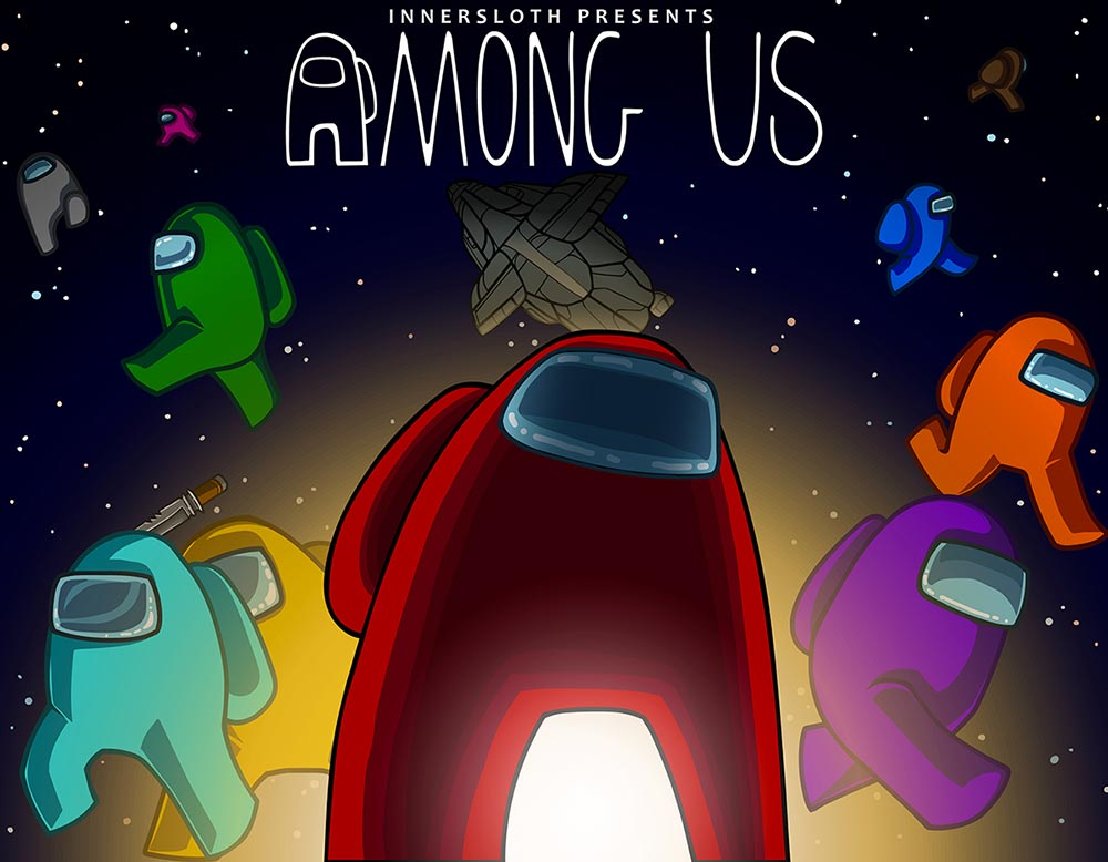"""Among us characters (ovals with legs) in various colors under the words """"Among Us"""""""