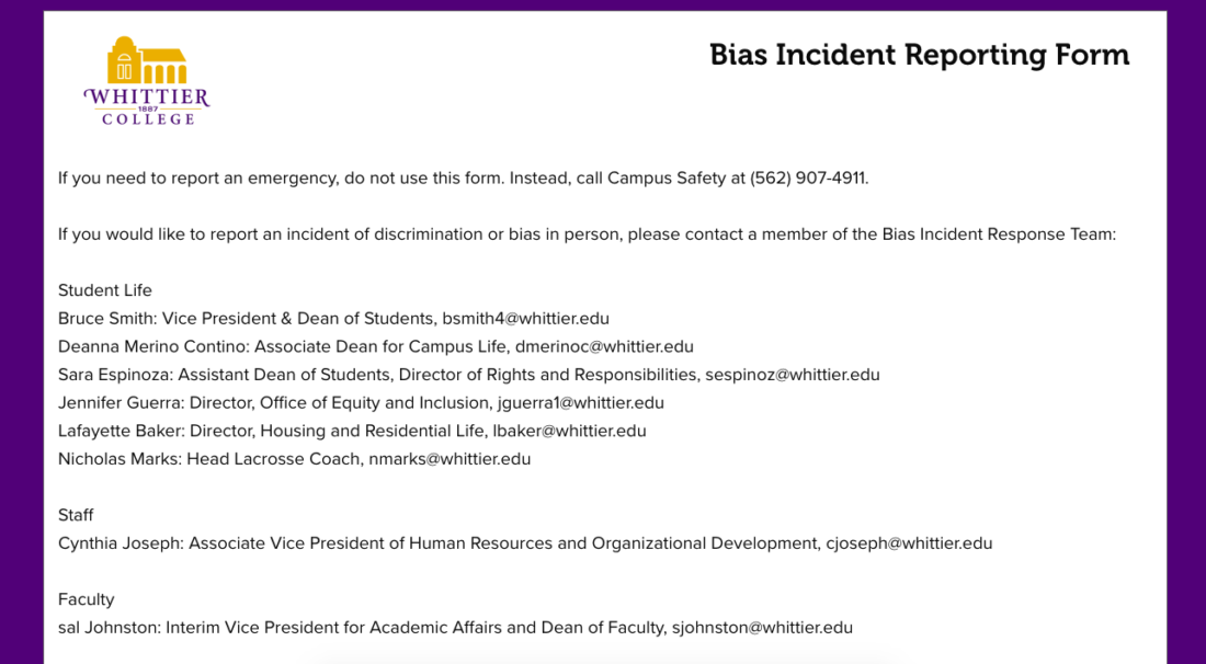 Online form outlining how to submit a bias incident report