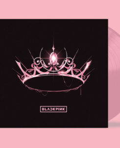BLACKPINK The Album cover, a pink tiara with a black background