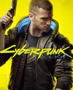 Promotional shot of Cyberpunk with a man in a hoody holding a gun