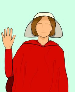 graphic drawing of amy coney barrett in a red robe with a white hat on her head, raising her right hand