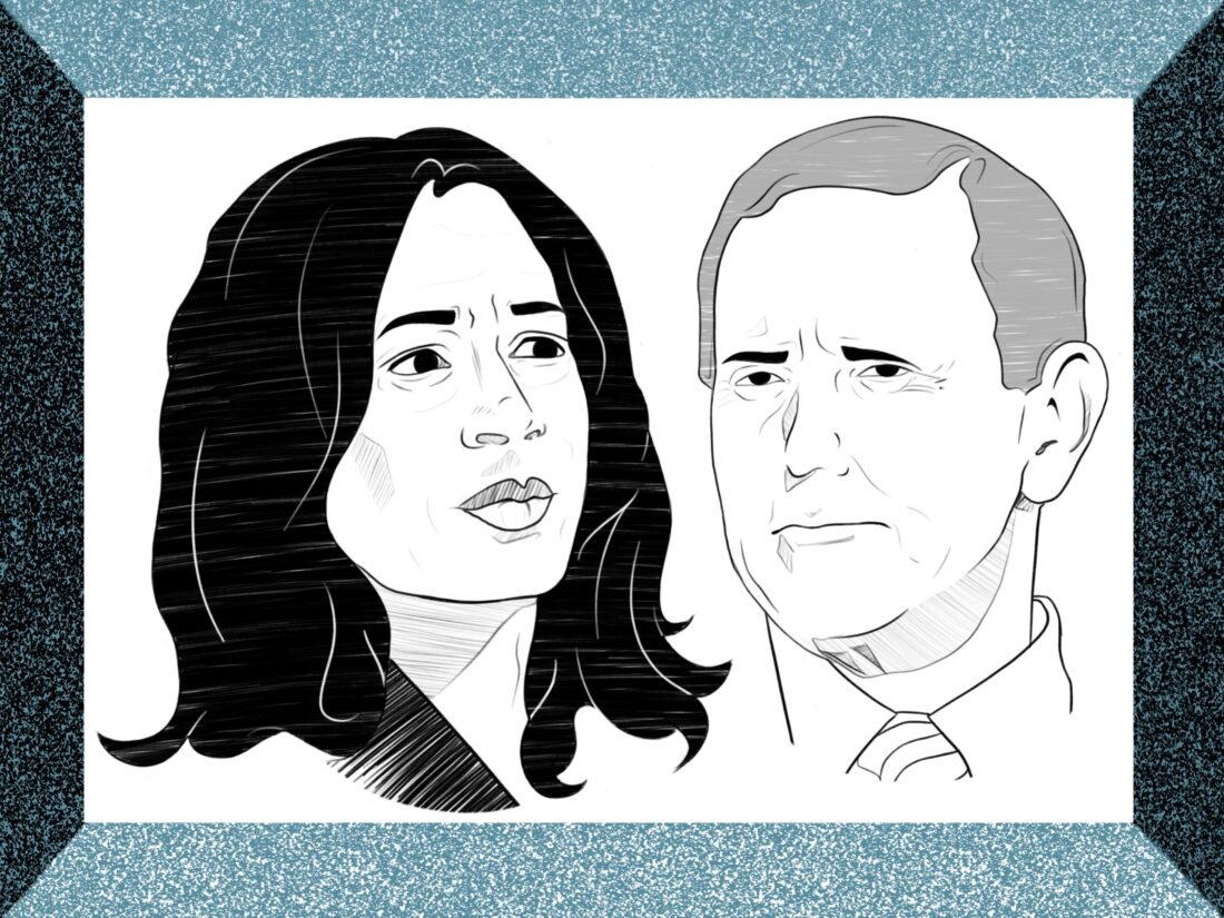 Drawing of Kamala Harris looking to the right with Mike Pence next to her looking to the left. Both are surrounded by a blue border.