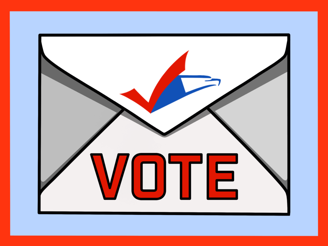 A white envelope graphic with the word vote across in red with a check and the USPS logo on top against a light blue background with a red border
