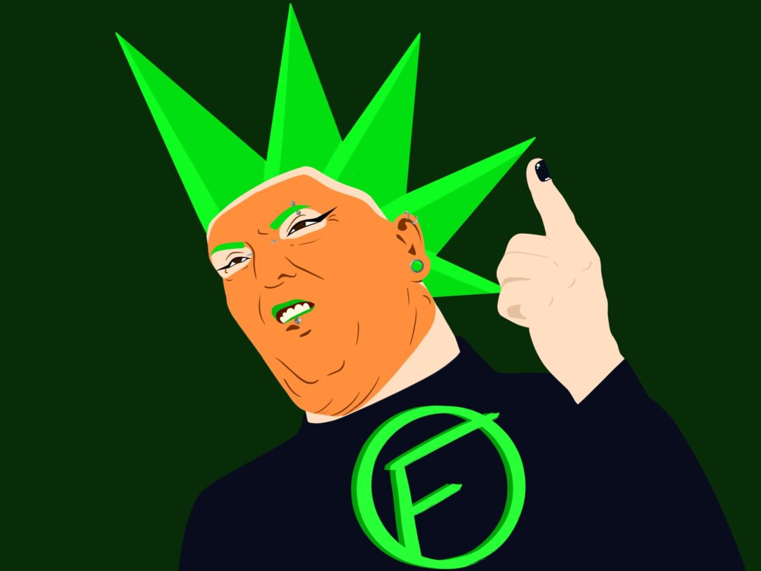 Trump in punk fashion with a green mohawk and F on his chest