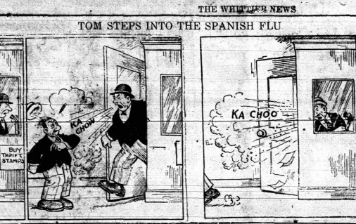 Comic showing a man in a phone booth who leaves, sneezes, and then infects another man with the influenza.