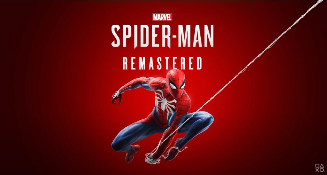 picture of spiderman swinging on a web against a red background with the words Marvel: Spider-Man Remastered at the top
