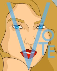 a graphic drawing of taylor swift with a light blue background and the words vote across her face