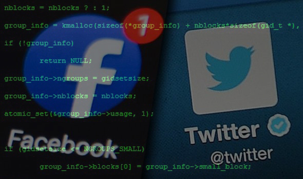 false green coding layered over facebook and twitter logos
