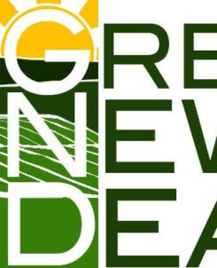 left side of the graphic is a white windmill atop a green field with a yellow sky rising. On the right side of the graphic is a plain white background. In the middle of both sides are the words Green New Deal.