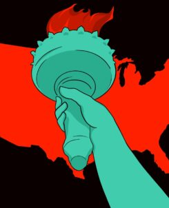 a red map of the united states against a black background with the arm of the statue of liberty holding a green torch with red fire
