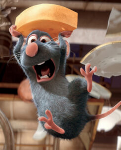 Remy the rat from Ratatouille holding cheese over his head while plates break behind him
