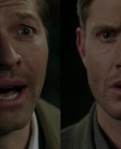 Castiel with tears in his eyes and Dean with a blank face as Destiel is supposedlly confirmed