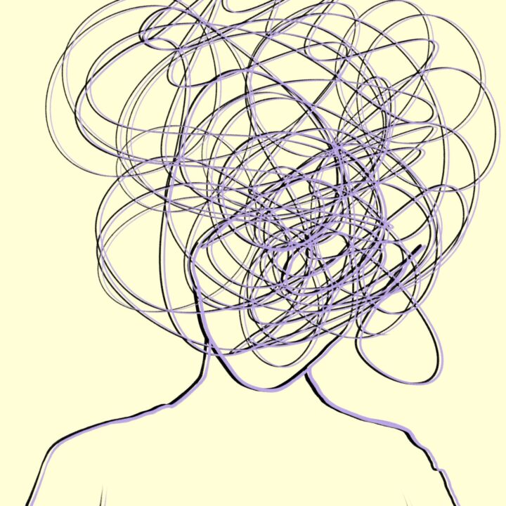 Image of a person with their head replaced with scribbles to represent impact of music
