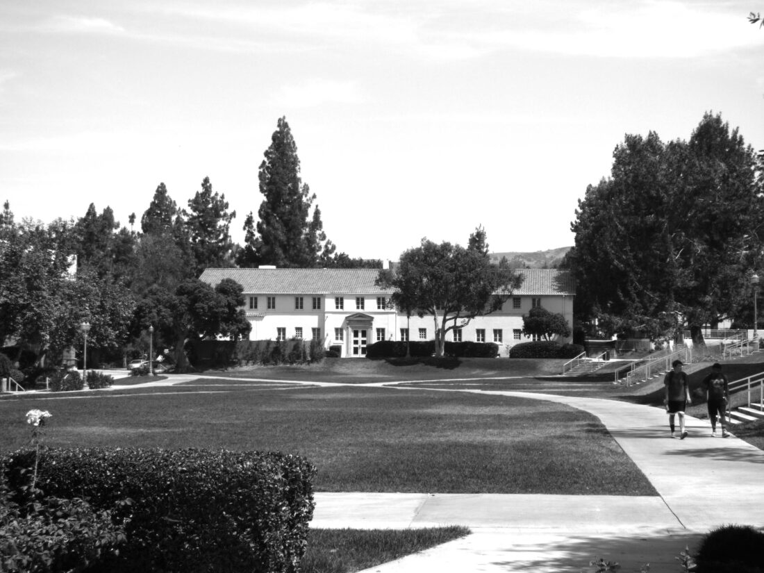Black and White photo of the quad at Whittier College