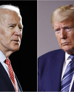 Side by side images of Biden and Trump