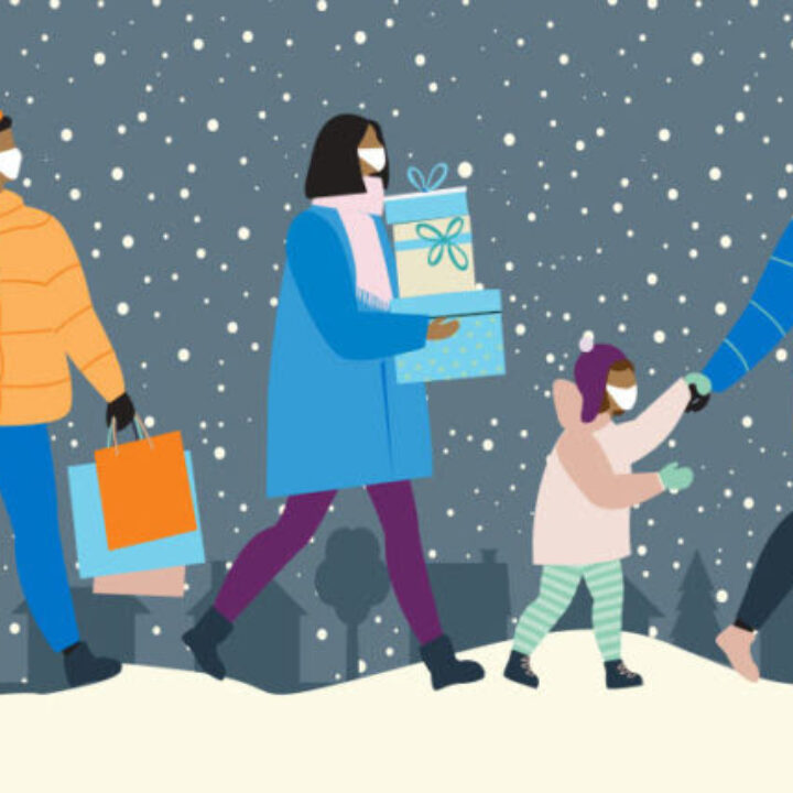 Graphic of people carrying presents in the snow holding hands while wearing masks