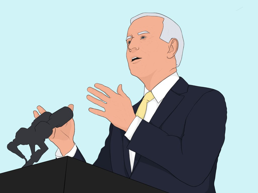 Graphic of Biden facing left speaking in front of a podium against a light blue background
