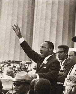 Photograph of Dr. MLK Jr. speaking at the Lincoln Memorial