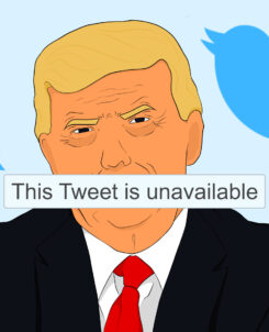 Illustration of Trump being banned from Twitter