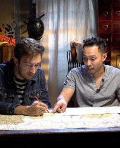 Image of Ryan Bergara and Shane Madej at their Buzzfeed Unsolved desk