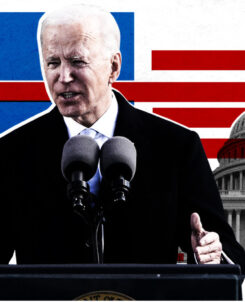 Graphic of President Biden in front of podium with the Capitol Building in the background