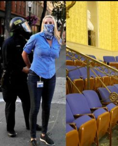 Side-by-side photo of a journalits being arrested by police in riot gear at a blm protest and a photo of a man in military gear storming the senate chamber