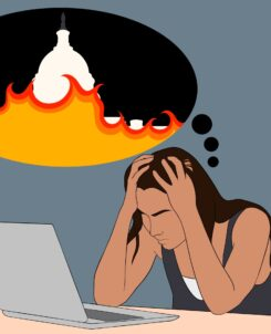 graphic of a female student in front of a laptop while holding her head, with a thought bubble showing an image of the Capitol Building on fire