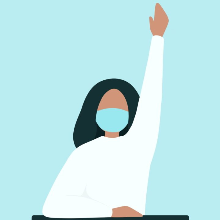 Graphic image of a girl sitting at a desk raising her hand while wearing a mask with a light blue background
