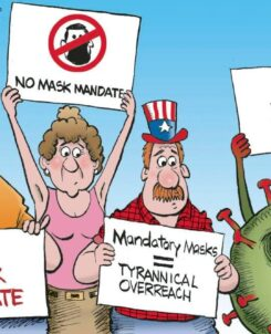 "graphic of three people with signs opposing the mask mandate looking unsurely to the side where a covid virus is holding a sign saying ""I'm with them"""