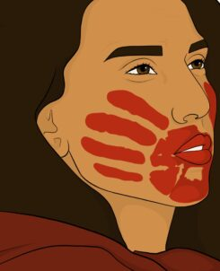 A close up of an illustration of the face of an indigenous women looking to the right with a red handprint over her mouth while wearing a red coat