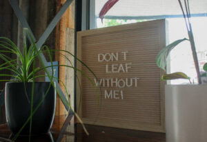 """A sign inside of Lift Coffee that reads """"Don't Leaf Without Me!"""""""