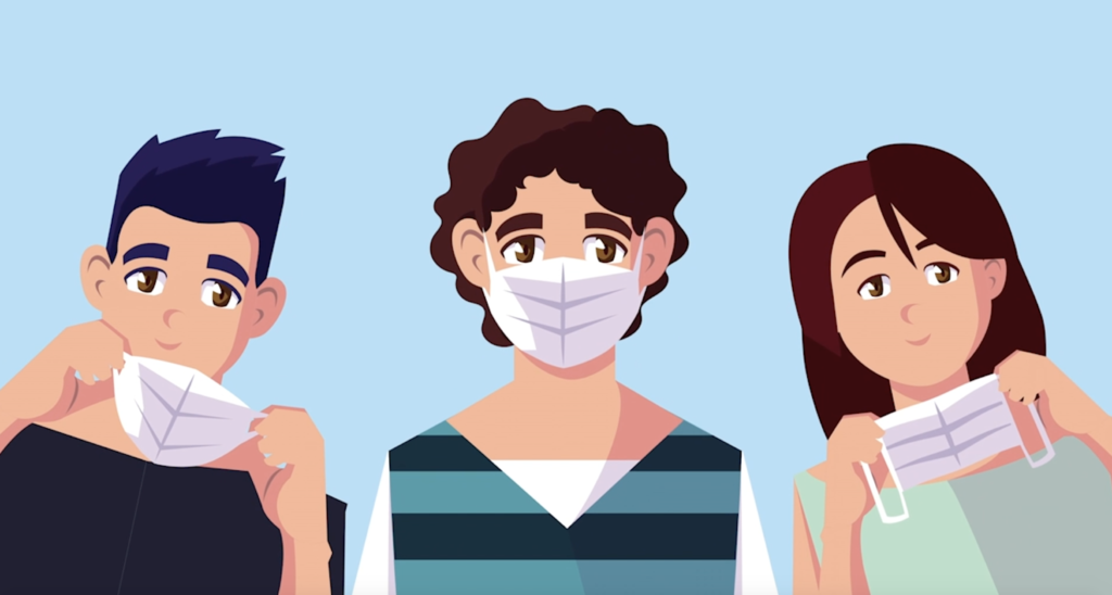 One person with a mask on, in-between two people taking their masks off.
